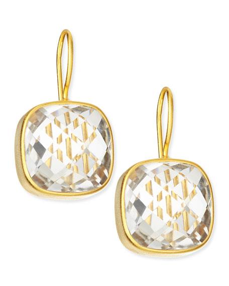 Dina Mackney Clear Quartz 19k Gold Vermeil Drop Earrings