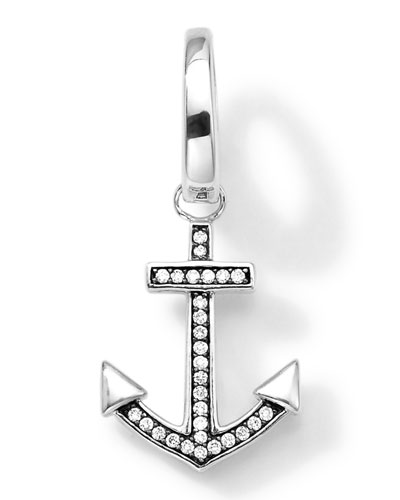 Sterling Silver Anchor Charm with Diamonds
