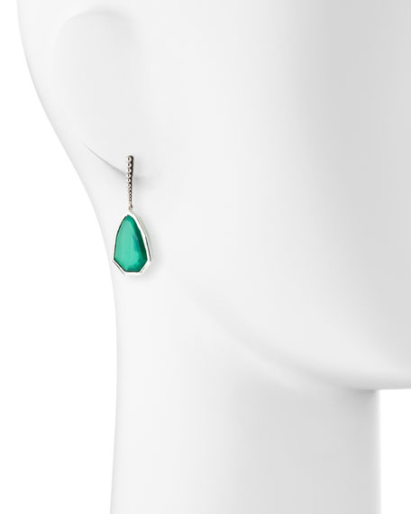 Small Sterling Silver Galactical Green Agate Drop Earrings