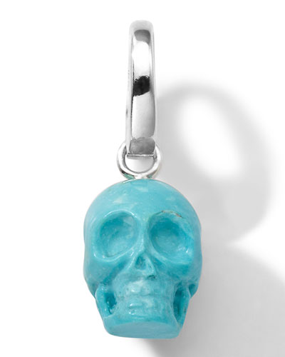 Sterling Silver Skull Charm in Turquoise