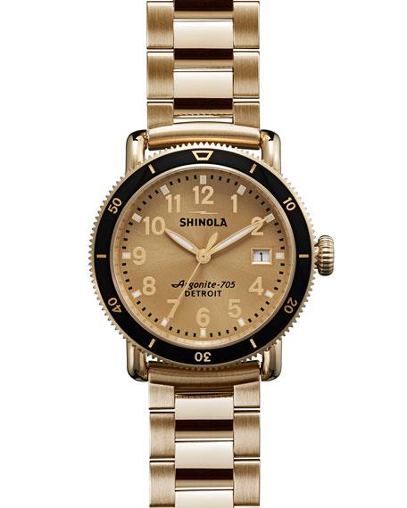 Shinola 36mm Runwell Sport Yellow Golden Watch, Black