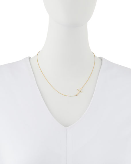 14k Cross Necklace with Single Diamond