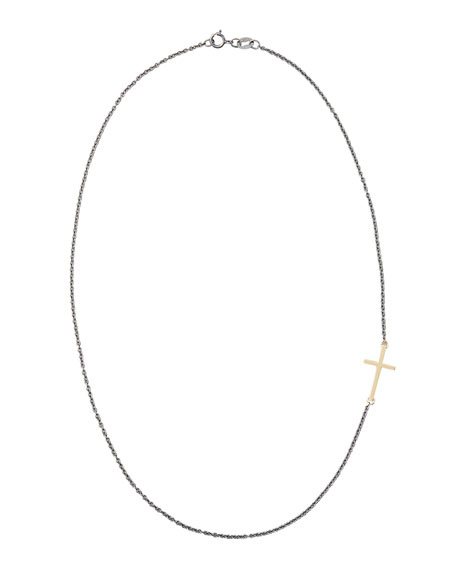 14k Gold Cross Charm Necklace, 16''L
