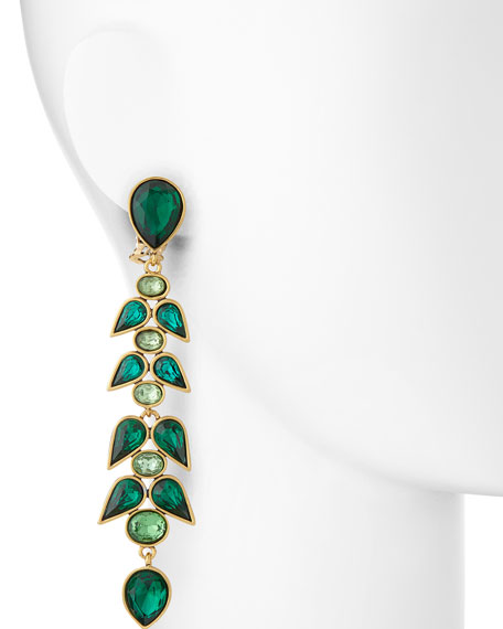 Wisteria Crystal Drop Earrings, Emerald Green