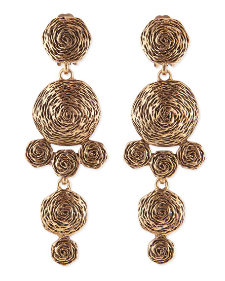 Golden Swirl Drop Clip-On Earrings