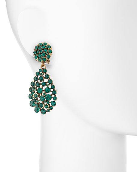 Bold Pear-Cut Cluster Drop Clip-On Earrings, Emerald Green