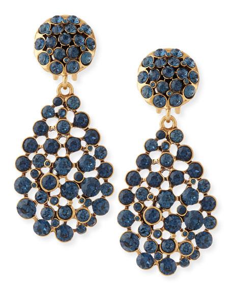 Bold Pear-Cut Cluster Drop Clip-On Earrings, Navy