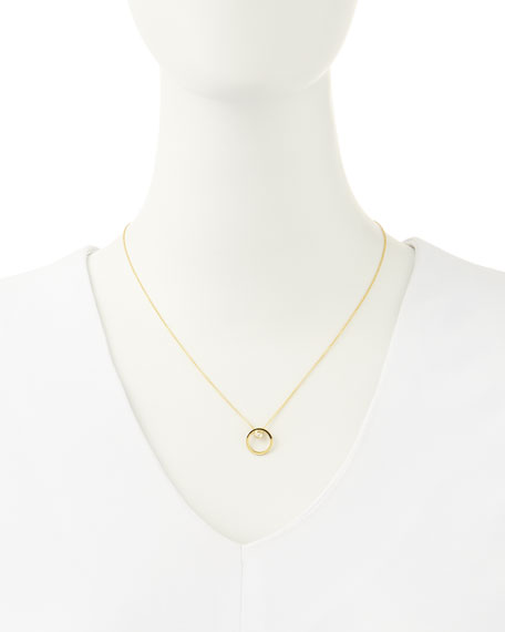 18k Yellow Gold Circle Single-Diamond Necklace