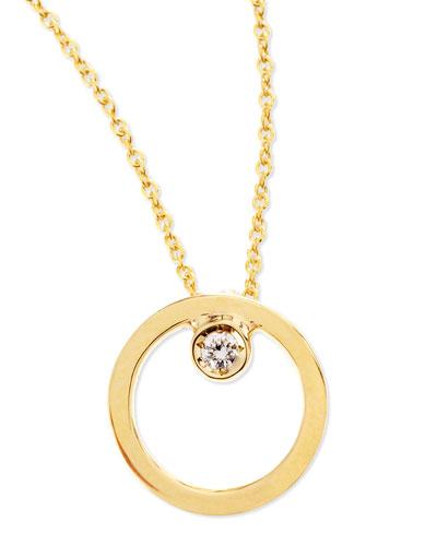 Roberto Coin 18k Yellow Gold Circle Single-Diamond Necklace