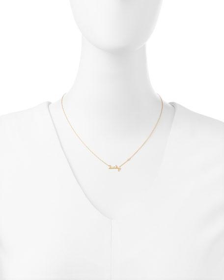 Lucky Single-Diamond Script Necklace