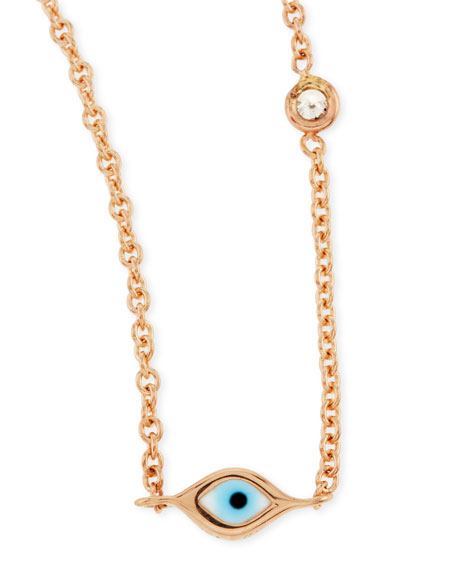 14k Rose Gold Evil Eye Necklace with Single Diamond