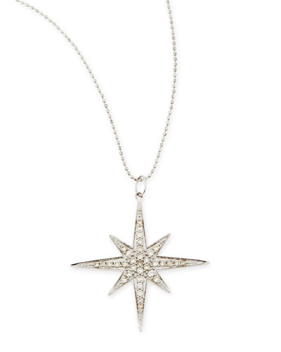 14k White Gold Diamond Starburst Necklace