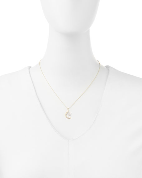 14k Yellow Gold Moon, White Gold Star Necklace with Diamonds
