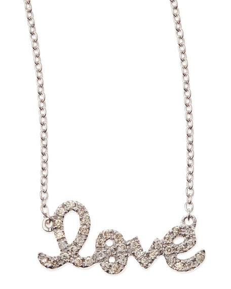 Sydney Evan Small White Gold Diamond Love Necklace