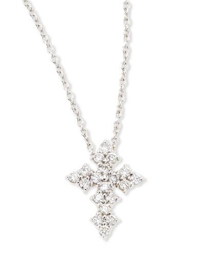 18k White Gold Diamond Cross Necklace