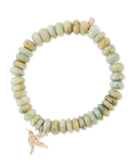 Aqua Beaded Bracelet with Diamond Hummingbird