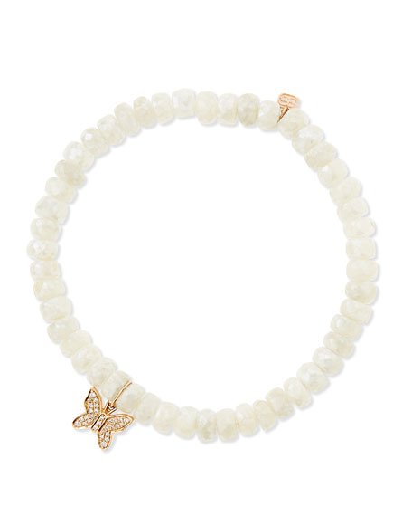 White Sapphire Beaded Bracelet with Diamond Butterfly