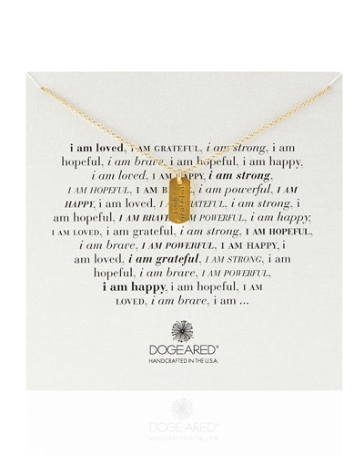 Dogeared Gold-Dipped I Am Grateful Dogtag Necklace