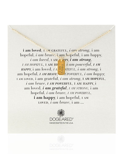 Dogeared Gold-Dipped I Am Happy Dogtag Necklace
