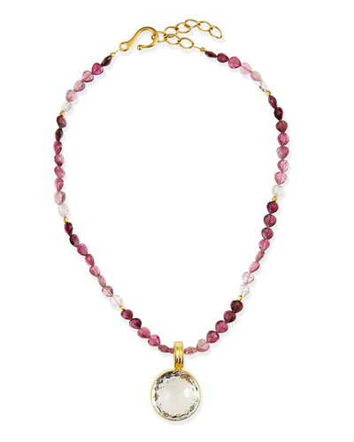 Tourmaline Necklace with Quartz Pendant