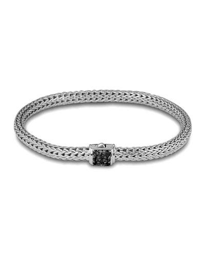 John Hardy Classic Chain 5mm Extra-Small Braided Silver Bracelet, Black Sapphire