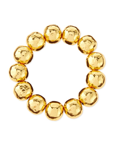 Hammered Gold-Plated Bead Bracelet