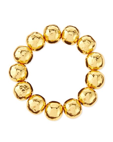 NEST Jewelry Hammered Gold-Plated Bead Bracelet
