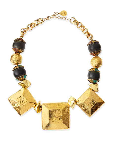 Hammered Golden Medallion Square Necklace