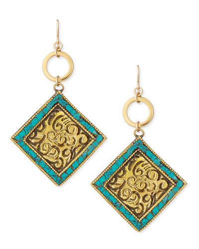Turquoise/Brass Medallion Drop Earrings