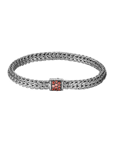 Classic Chain 6.5mm Small Braided Silver Bracelet, Red Sapphire