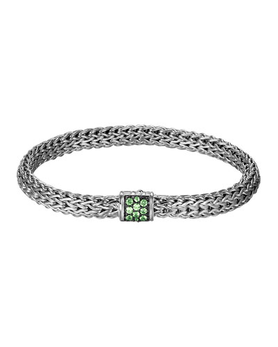 John Hardy Classic Chain 6.5mm Small Braided Silver Bracelet, Tsavorite