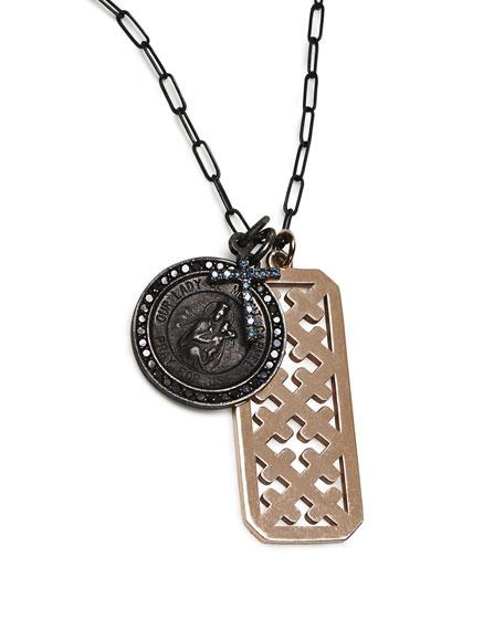 Katie Design Jewelry Blue Diamond Cross Guardian Angel Dog Tag