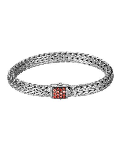 John Hardy Classic Chain 7.5mm Medium Braided Silver Bracelet, Red Sapphire