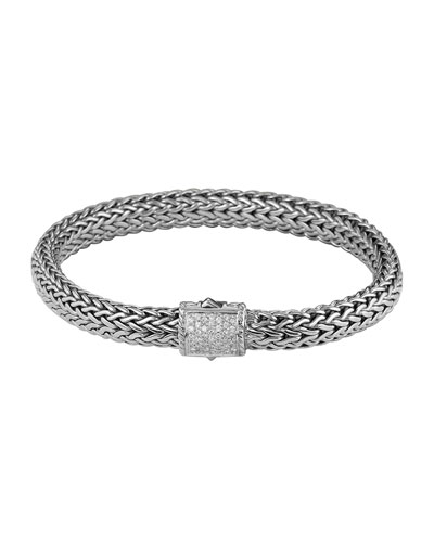 John Hardy Classic Chain 7.5mm Medium Braided Silver Bracelet, Diamond