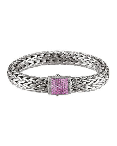 John Hardy Classic Chain 11mm Large Braided Silver Bracelet, Pink Sapphire