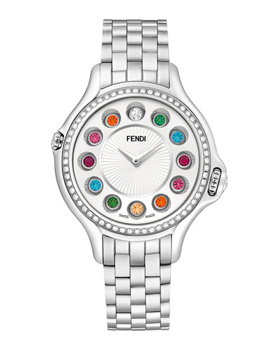 Fendi Timepieces Crazy Carats Stainless Steel Diamond-Bezel Topaz Watch