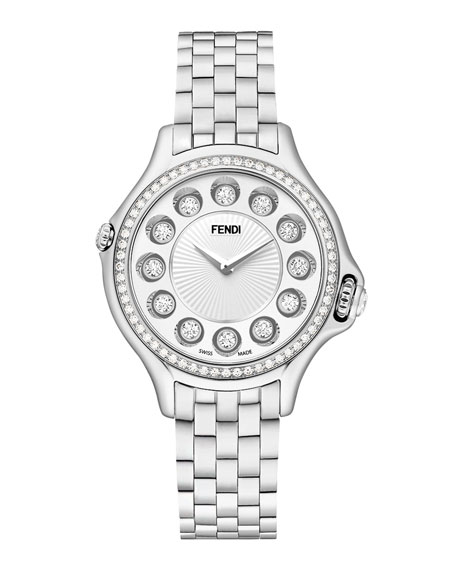 Crazy Carats Stainless Steel Topaz Watch with White Diamond Bezel, 2.07 TCW