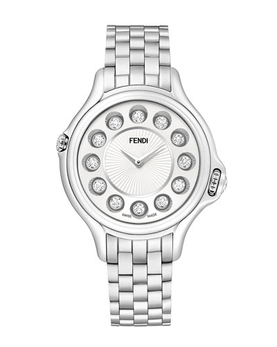 Fendi Timepieces Crazy Carats Stainless Steel Topaz Watch with White Dial, 2.9 TCW