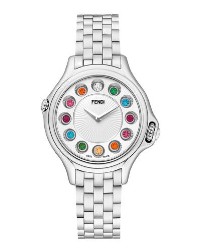 Fendi Timepieces Crazy Carats Stainless Steel Topaz Watch with White Dial, 1.5 TCW