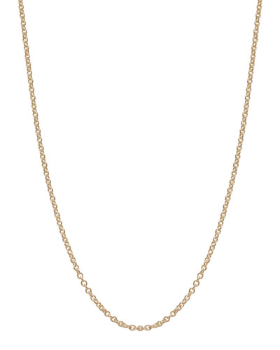 "2mm 14k Yellow Gold Chain Necklace, 18""L"