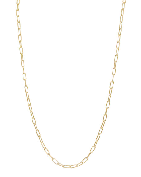 3mm Long Link Yellow Gold Chain Necklace, 18
