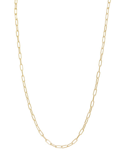 3mm Long Link Yellow Gold Chain Necklace, 31