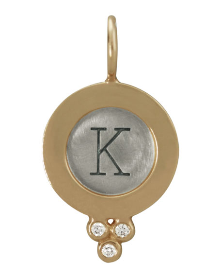Sterling Silver/14k Yellow Gold Single Uppercase Initial Charm with Diamonds