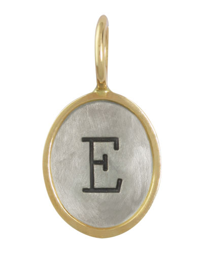 Oval Sterling Silver/14k Yellow Gold Single Uppercase Initial Charm