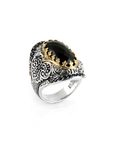 Silver & 18k Gold Spinel Oval Ring