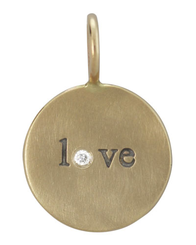 14k Yellow Gold Love Charm with Diamond
