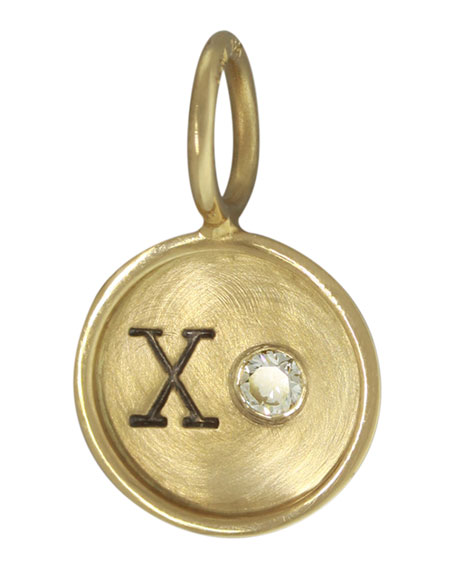14k Yellow Gold XO Charm with Diamond