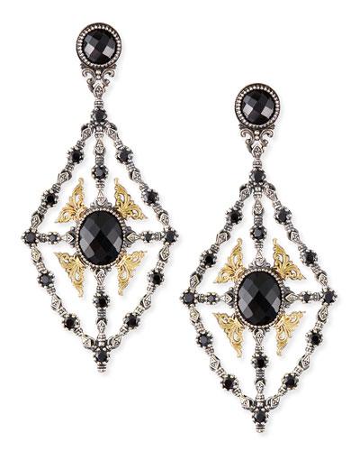 Onyx & Spinel Chandelier Earrings