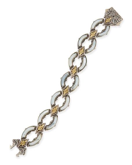 Silver & 18k Gold Mother-of-Pearl Curved Link Bracelet