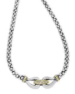 Lagos Silver & 18k Gold Derby Diamond Necklace